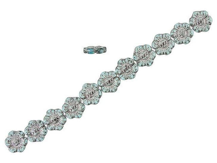 Czech Glass 14mm Aqua Blue Transparent with Platinum Wash Wild Rose Bead Strand by Raven's Journey
