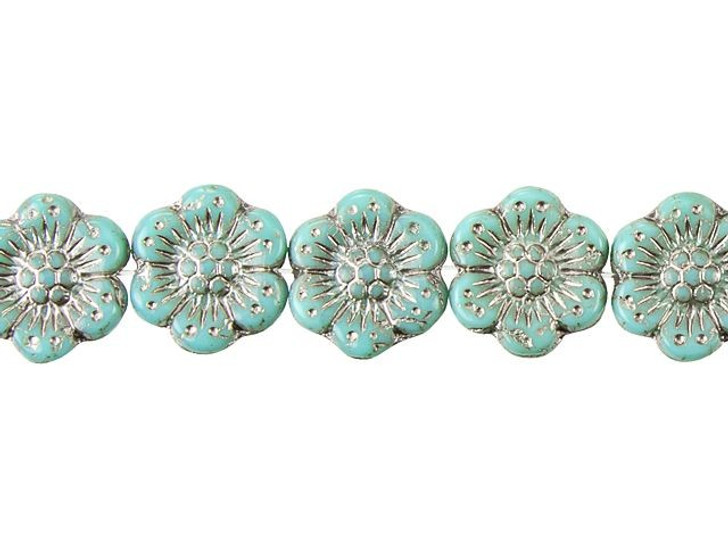 Czech Glass 14mm Turquoise Opaque with Platinum Wash Wild Rose Bead Strand by Raven's Journey