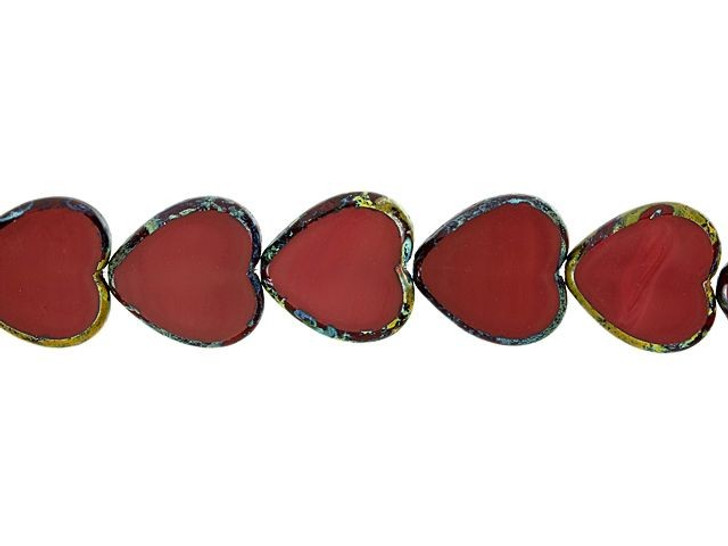 Czech Glass 16mm Red Opaque with Picasso Finish Heart Bead Strand by Raven's Journey