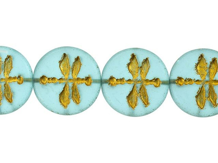 Czech Glass 18mm Aqua Blue Matte with Gold Wash Dragonfly Coin Bead Strand by Raven's Journey