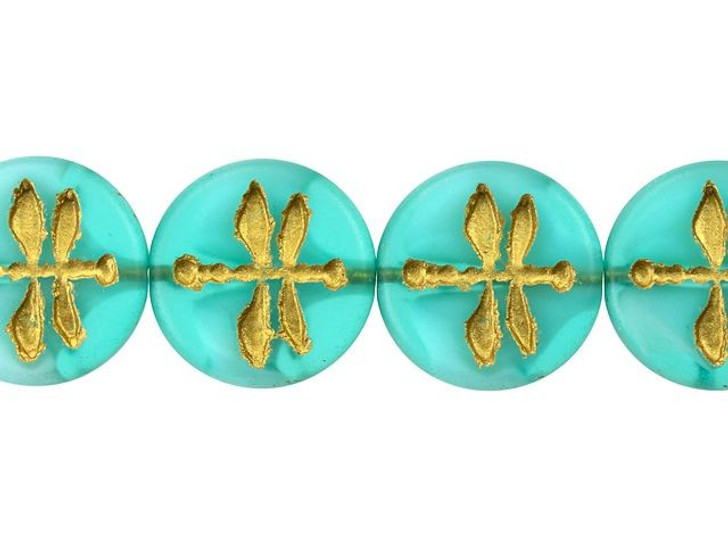 Czech Glass 18mm Aqua Blue Matte with White Core and Gold Wash Dragonfly Coin Bead Strand by Raven's Journey
