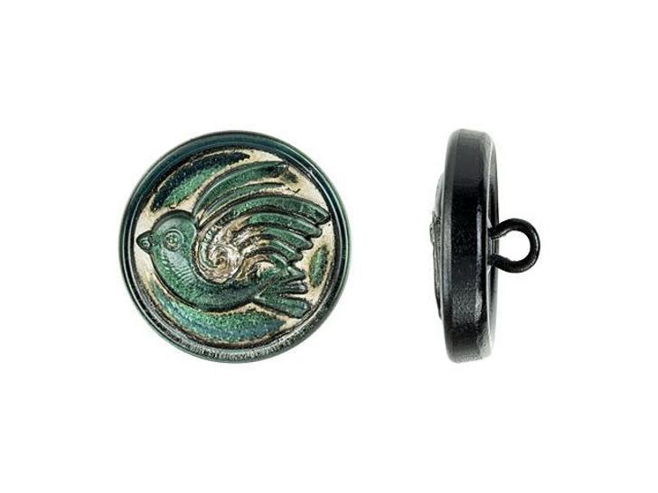 Czech Glass 18mm Round Bird Design Green Antiqued Glass Button by Raven's Journey