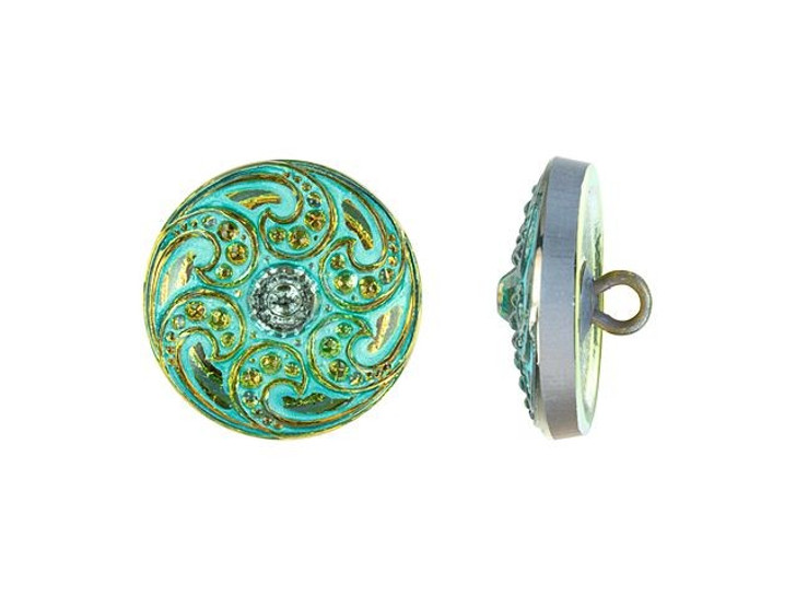 Czech Glass 18mm Round Jewel Spiral Iridescent Yellow with Turquoise Wash Glass Button by Raven's Journey