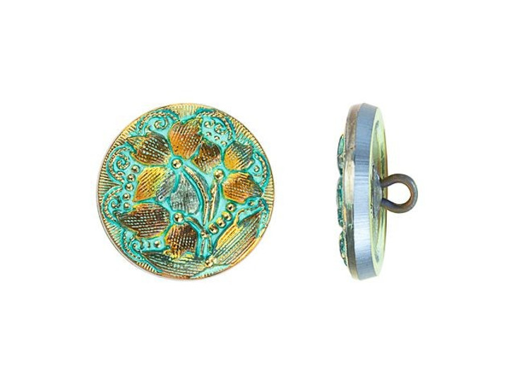 Czech Glass 18mm Round Lacy 3 Flower Design Golden Orange Iridescent with Turquoise Wash and Gold Paint Glass Button by Raven's Journey