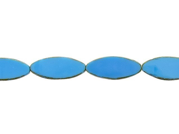 Czech Glass 20 x 9mm Azure Blue with Picasso Pointed Oval Table-Cut Bead Strand by Raven's Journey
