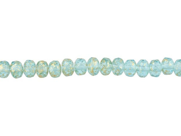 Czech Glass 5 x 4mm Aqua Blue wit Antique Gold Finish Fire-Polished Rondelle Bead Strand by Raven's Journey