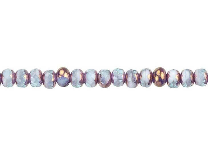 Czech Glass 5 x 4mm Aqua White with Purple Bronze Fire-Polished Rondelle Bead Strand by Raven's Journey