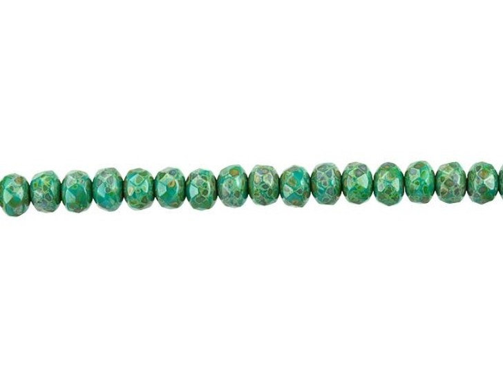Czech Glass 5 x 4mm Green Turquoise Opaque with Picasso Fire-Polished Rondelle Bead Strand by Raven's Journey
