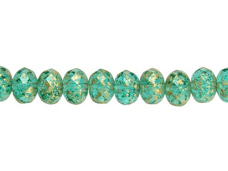 Czech Glass 9 x 6mm Aquamarine Green with Antique Gold Finish Fire-Polished Rondelle Bead Strand by Raven's Journey