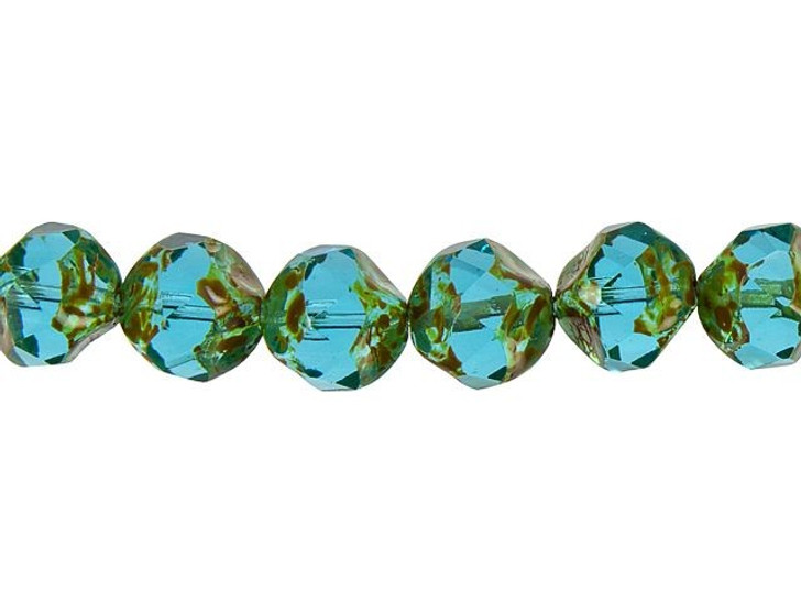 Czech Glass 9mm Aqua Blue with Picasso Central Cut Fire-Polished Bead Strand by Raven's Journey
