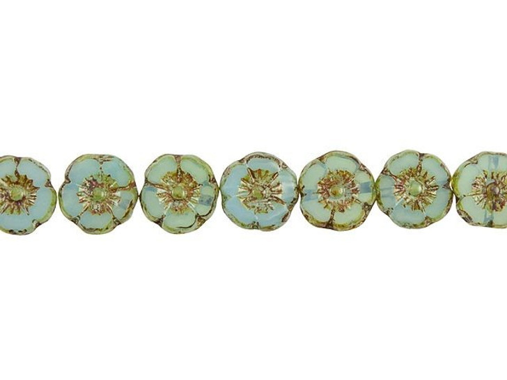 Czech Glass 9mm Aqua Opaline with Picasso Finish Hibiscus Flower Bead Strand by Raven's Journey