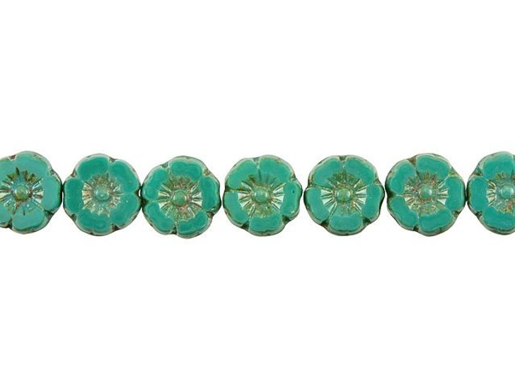 Czech Glass 9mm Green Turquoise Opaque with Picasso Finish Hibiscus Flower Bead Strand by Raven's Journey