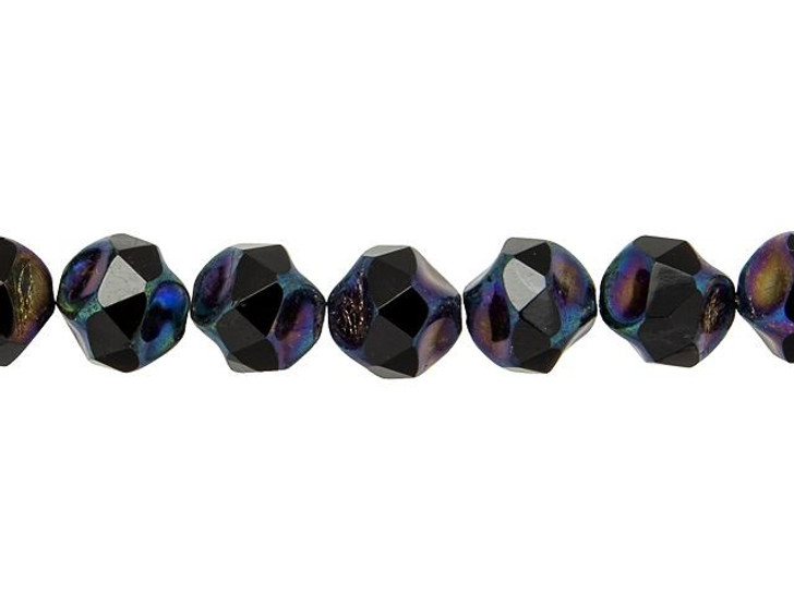 Czech Glass 9mm Jet Opaque with Purple Iris Finish Central Cut Fire-Polished Bead Strand by Raven's Journey