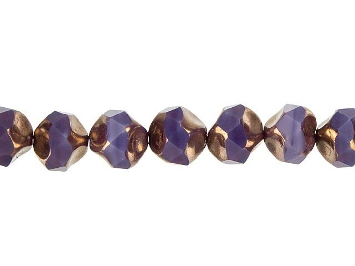 Czech Glass 9mm Purple Opaline with Bronze Central Cut Fire-Polished Bead Strand by Raven's Journey
