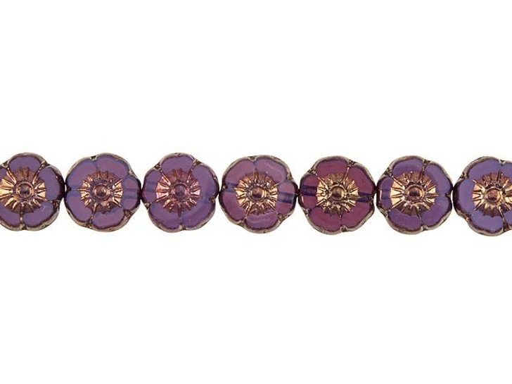 Czech Glass 9mm Purple Opaline with Bronze Finish Hibiscus Flower Bead Strand by Raven's Journey