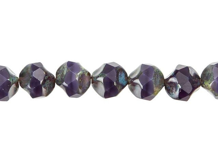 Czech Glass 9mm Purple Opaline with Picasso Central Cut Fire-Polished Bead Strand by Raven's Journey