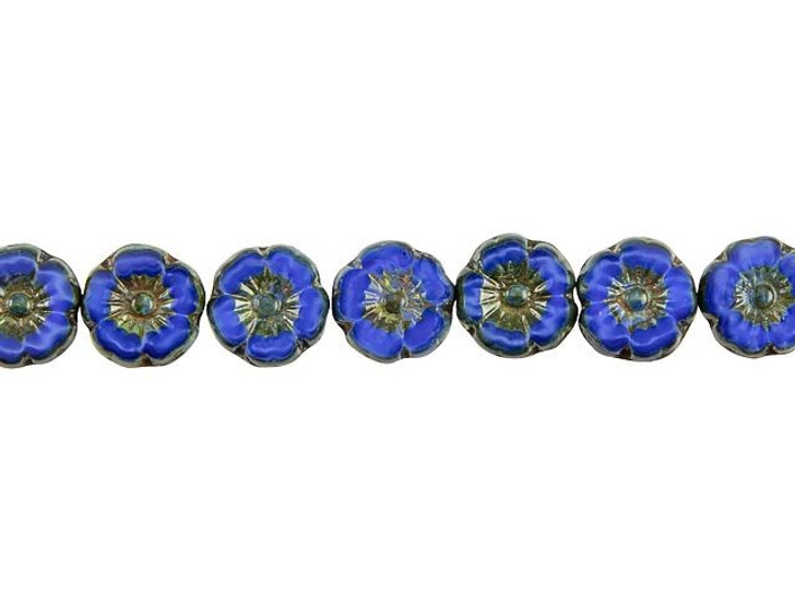 Czech Glass 9mm Royal Blue Silk with Picasso Finish Hibiscus Flower Bead Strand by Raven's Journey