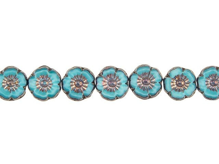 Czech Glass 9mm Turquoise Silk with Bronze Finish Hibiscus Flower Bead Strand by Raven's Journey