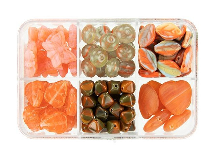Czech Glass Carrot Cake Bead Mix Recipe Box