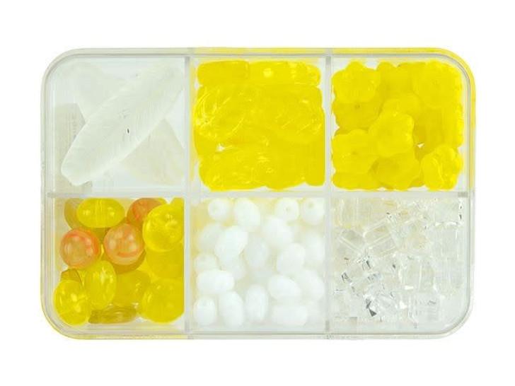 Czech Glass Lemon Squares Bead Mix Recipe Box