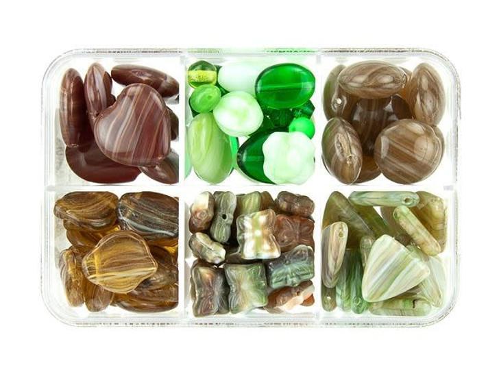 Czech Glass Mint Brownie Bead Mix Recipe Box