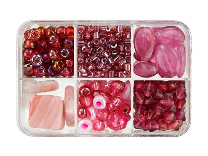 Czech Glass Raspberry Macaron Bead Mix Recipe Box