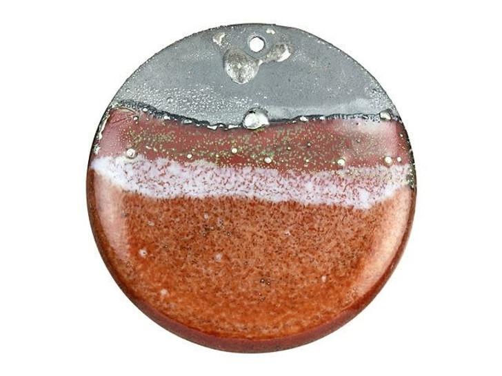 Gardanne Beads Autumn Silvered Landscape Enameled Brass 32mm Round Pendant