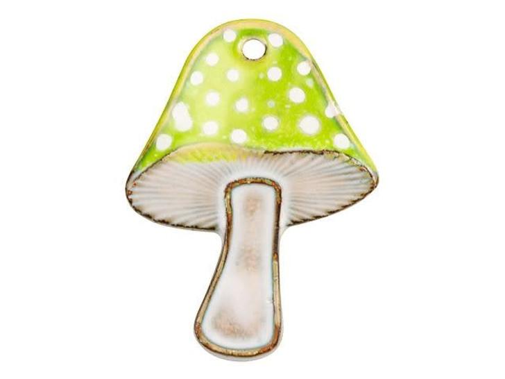 Gardanne Beads Bitter Green and White Enameled Brass Fairy Mushroom Pendant