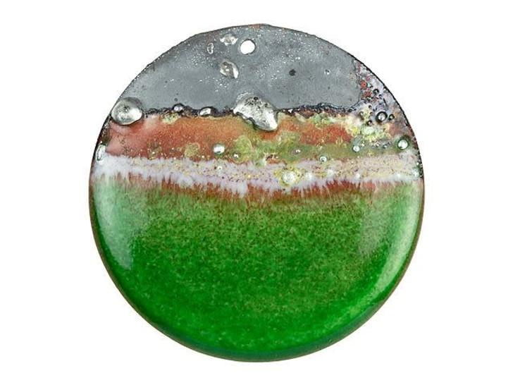 Gardanne Beads Emerald Green Silvered Landscape Enameled Brass 32mm Round Pendant