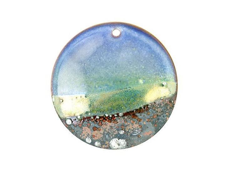 Gardanne Beads Heron Blue Silver Horizon Enameled Brass 30mm Round Pendant