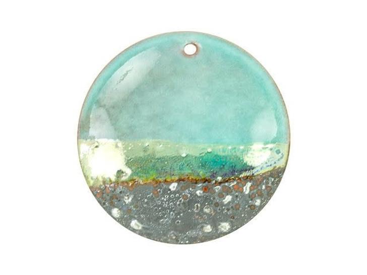Gardanne Beads Peppermint Silver Horizon Enameled Brass 30mm Round Pendant