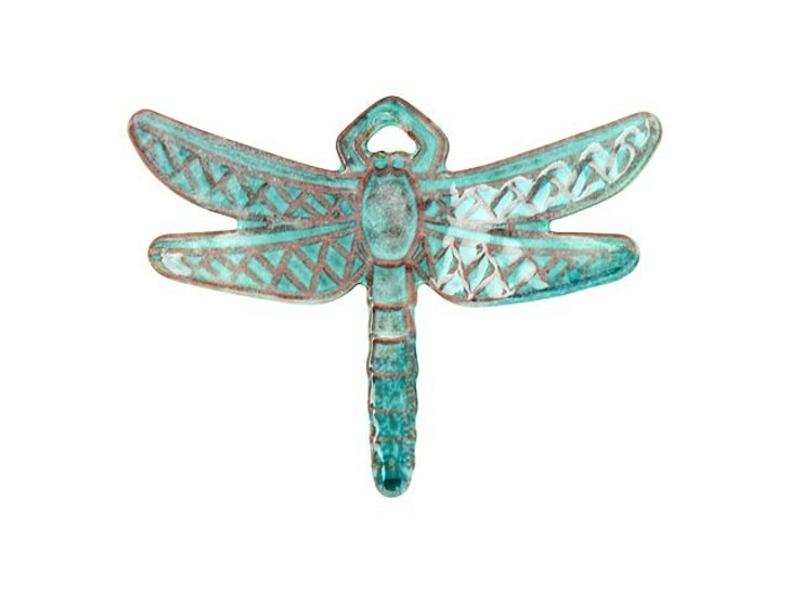 Gardanne Beads Peppermint with Teal Enameled Brass Dragonfly Charm