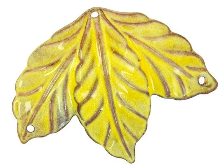 Gardanne Beads Yellow Enameled Brass Leaf Cluster Pendant