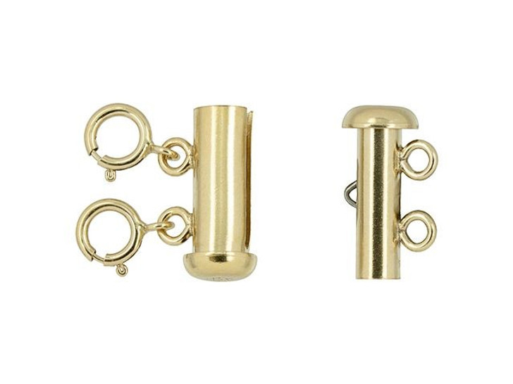 Gold-Filled 4.3 x 15mm Layered Necklace Tube Clasp, 2 Row with 5.5mm Spring Rings