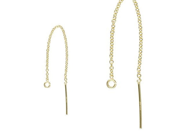 Gold-Filled 65mm Cable Chain Ear Thread with Ring (Pair)