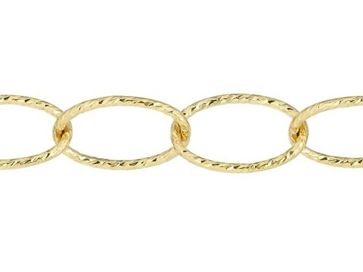 Gold-Filled Sparkle 6.4 x 9.8mm Oval Cable Chain By the Foot