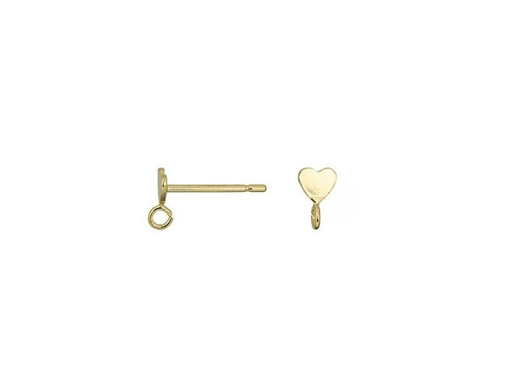 Gold-Plated 3.5 Heart Post Earring with Ring (Pair)