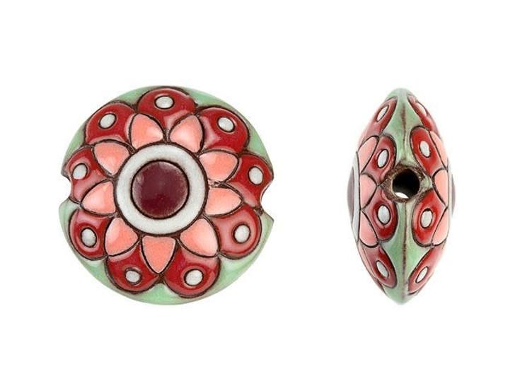 Golem Design Studio Stoneware Lentil Bead - Pink and Green Paisley Flower Design 4pc Strand