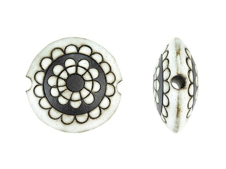 Golem Design Studio Stoneware Lentil Bead - White Paisley Flower Design 4pc Strand