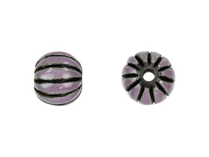 Golem Design Studio Stoneware Melon Bead - Purple Stripes on Dark Design