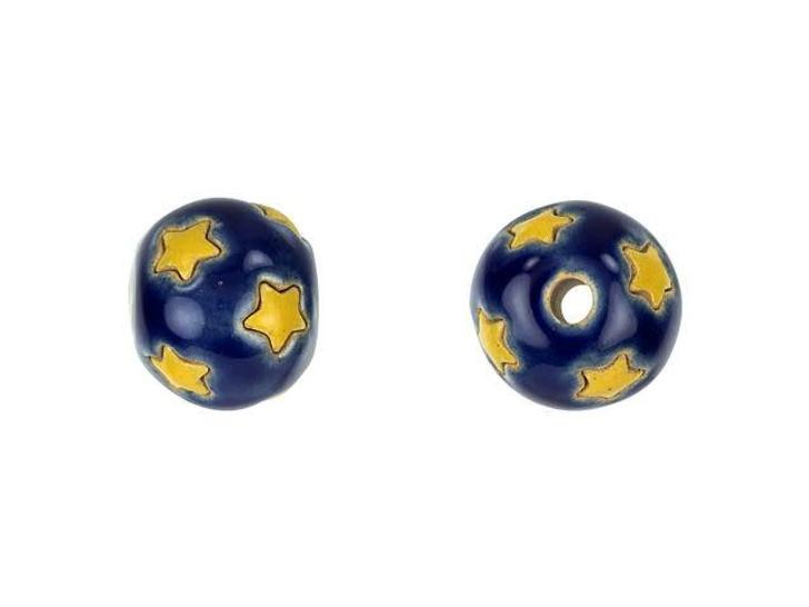 Golem Design Studio Stoneware Round Bead - Little Stars on Dark Blue Design