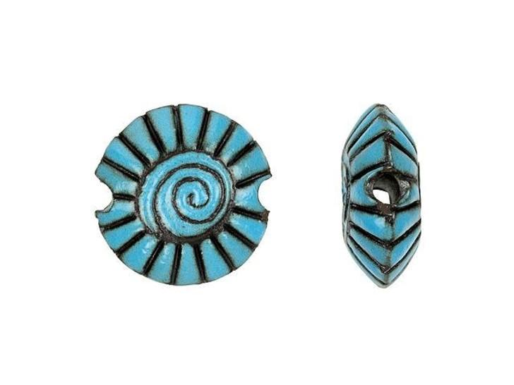 Golem Design Studio Stoneware Small Lentil Bead - Blue on Dark Spiral Design