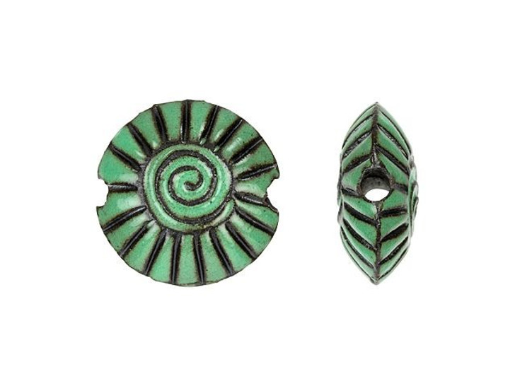 Golem Design Studio Stoneware Small Lentil Bead - Jade on Dark Spiral Design