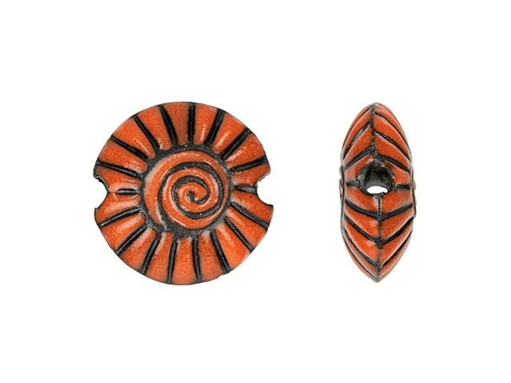 Golem Design Studio Stoneware Small Lentil Bead - Orange on Dark Spiral Design