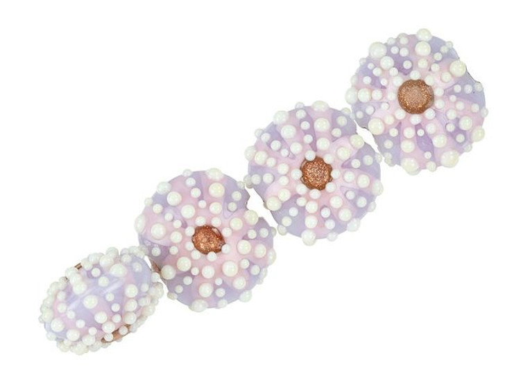 Grace Lampwork Purple Sea Urchin Lentil Bead (4 pcs)