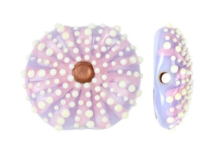 Grace Lampwork Purple Sea Urchin Lentil Focal Bead