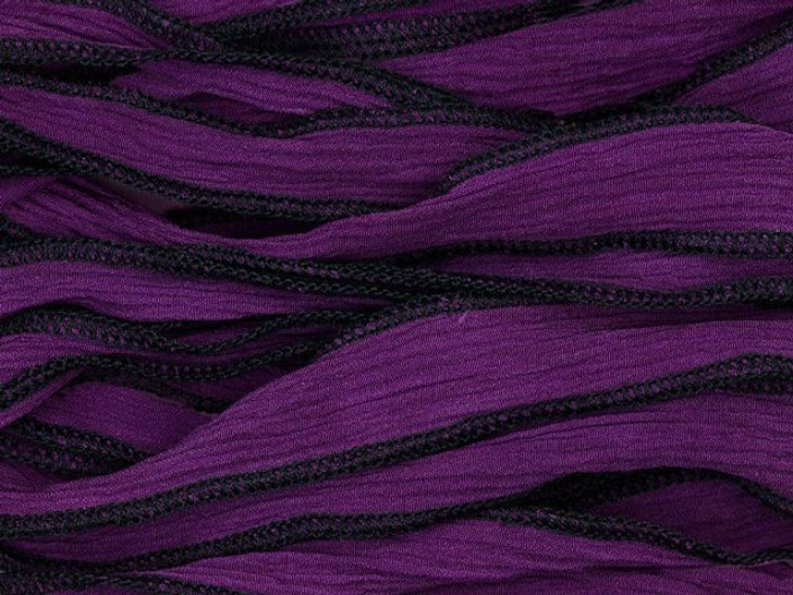 Hand-Dyed Dark Purple Silk Ribbon with Black Edges