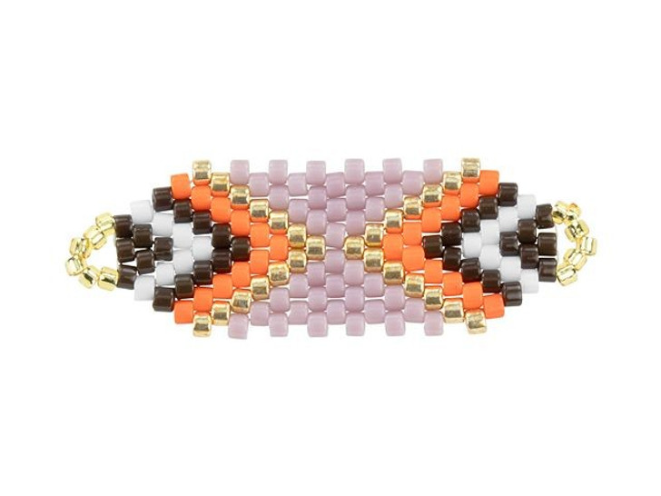 Miyuki Lavender/Coral Rectangle Beaded Focal Connector Link