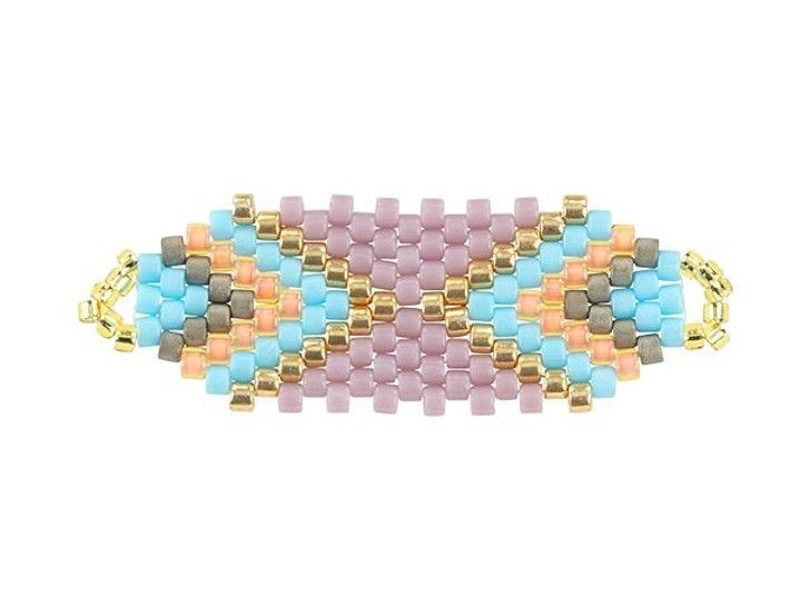 Miyuki Lavender/Pastel Blue Rectangle Beaded Focal Connector Link