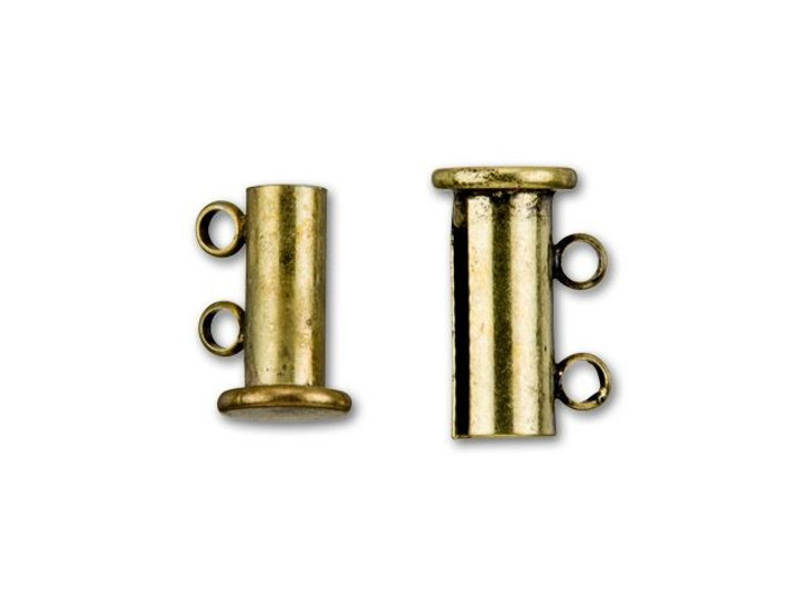 Antique Brass-Plated 14x10mm 2-Ring Magnetic Tube Clasp